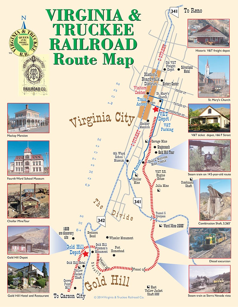 Map of Virginia City to Gold Hill route for Virginia & Truckee Railroad
