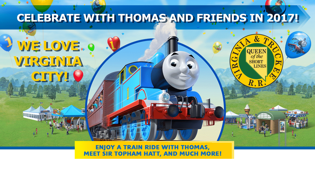 banner with cartoon image of Thomas the Train featuring Virginia and Truckee Ralroad